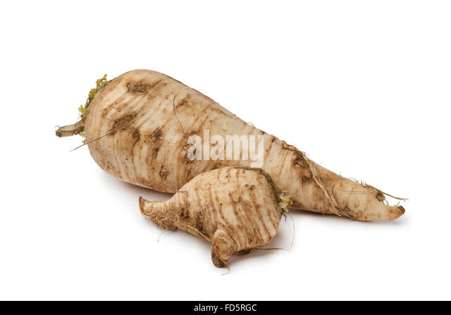 Fresh homegrown parsnip on white background - Stock Image