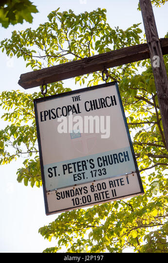 Sign at St. Peter's Church in Salem, Massachusetts. - Stock Image