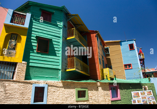 Colourful colorful painted timber and corrugated iron houses in La Boca Buenos Aires Argentina South America - Stock Image