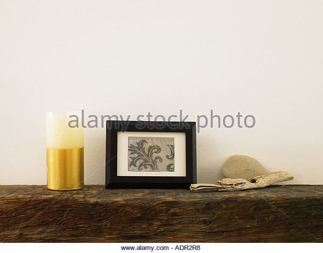 Objects on a mantlepiece - Stock Image