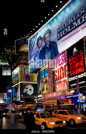 Neon billboards in Times Square, New York City, New York State, USA - Stock Image