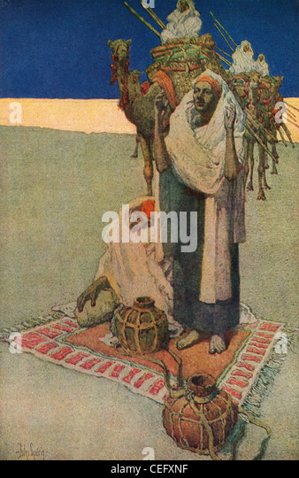 "Plate 17, ""Prayer in the Desert,"" by Jules Guerin, f1920, J. H. Jansen, Cleveland, Publisher. - Stock Image"