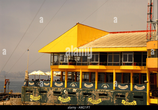 Chile Valparaiso seacoast restaurant funicular to hilltops stops here - Stock Image
