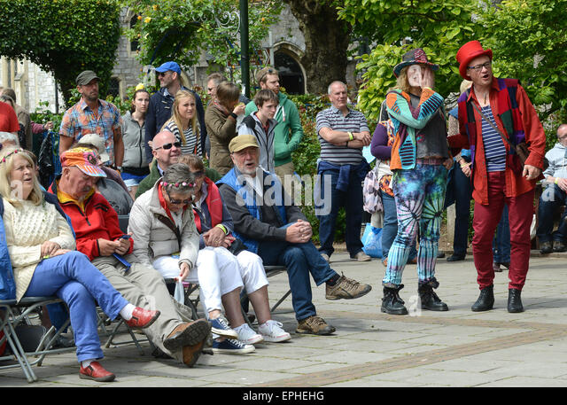 Crowd crowds people audience Dart Music Festival at Dartmouth Devon Uk 2015 - Stock Image