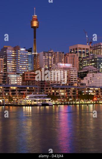 Darling Harbour Sydney at dusk - Stock Image