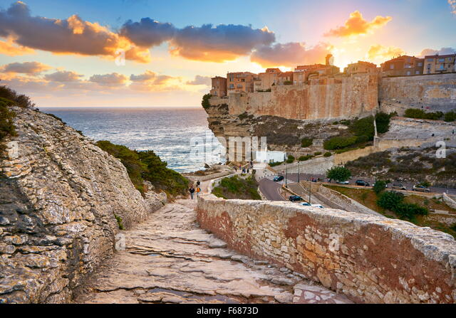Corsica Island -  Bonifacio at sunset time, France - Stock Image
