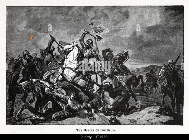 The Battle of the Spurs, 1882. Artist: Anonymous - Stock Image