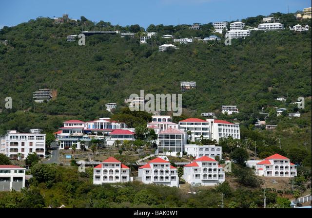 Hillside villas St Thomas Virgin Islands - Stock-Bilder