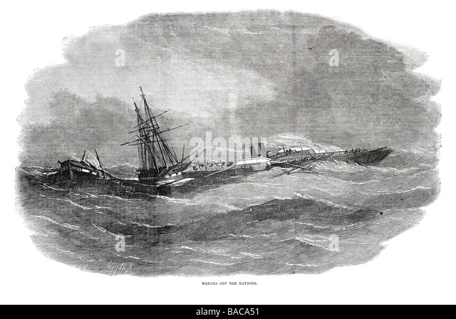wrecks off the katscha 1854 - Stock Image