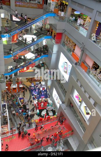 Bangkok Thailand Pathum Wan Rama 1 Road MBK Center centre complex mall shopping atrium escalators interior inside - Stock Image