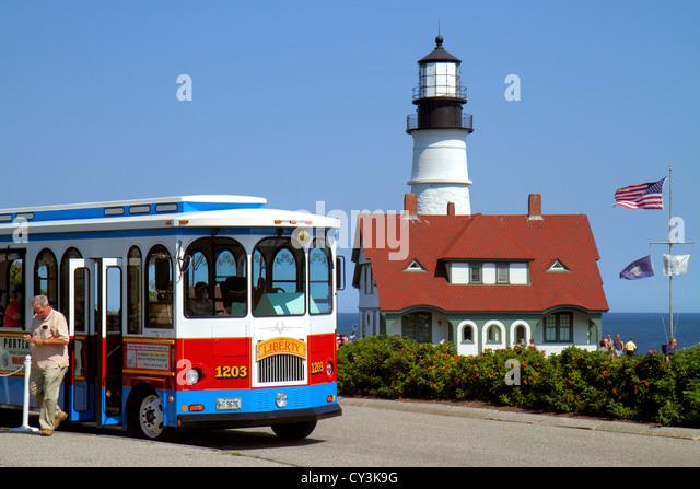 Portland Maine Cape Elizabeth Portland Head Light lighthouse Keeper's Quarters Fort Ft. Williams Park trolley - Stock Image
