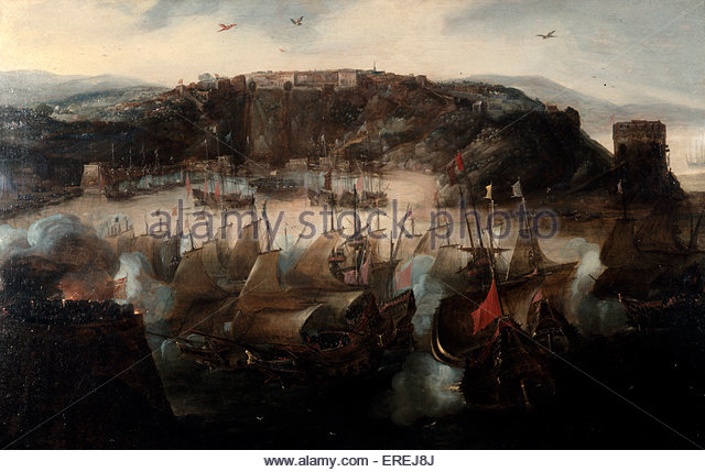 The Attack on San Salvador (Brazil) by a Dutch fleet commanded by Piet Hein and captured after a few days , 9 May - Stock Image