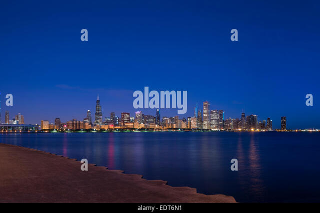 Chicago Skyline Cityscape Panoramic Panorama With Pier In Foreground - Stock Image