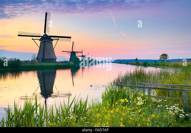 Netherlands windmill, Holland - Stock-Bilder