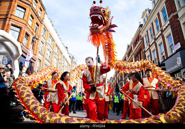 London, UK. 14th February 2016. The Chinese Dragon dances at the Chinese New Year Parade  2016 - The Year of the - Stock Image