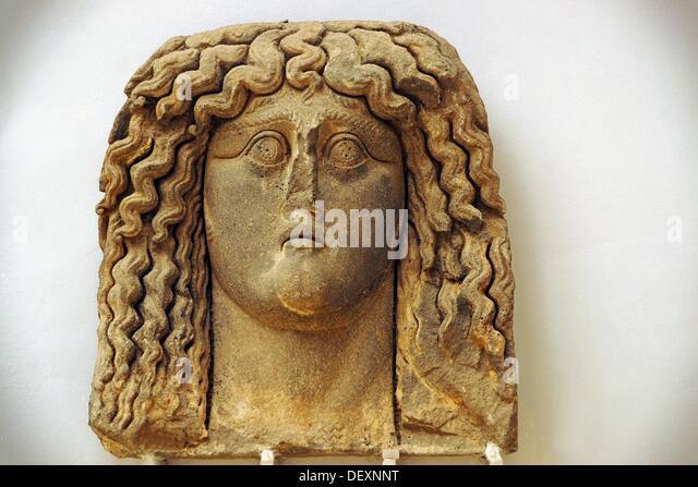 Gigantic head of a woman (3rd century) found at Jabal al-Arab, Museum of Suweida, Suweida, Hauran, Syria - Stock Image