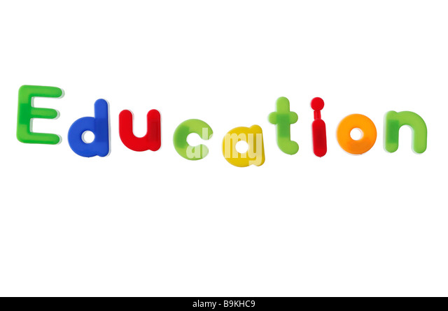 Education Written with Magnetic Letters - Stock Image