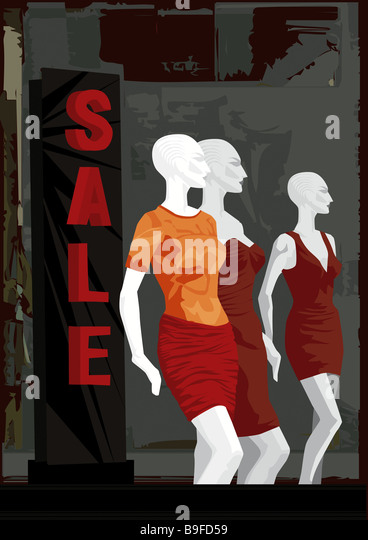 Illustration department store dummies sale boutique business display windows garments summer-ware fashion clothes - Stock Image