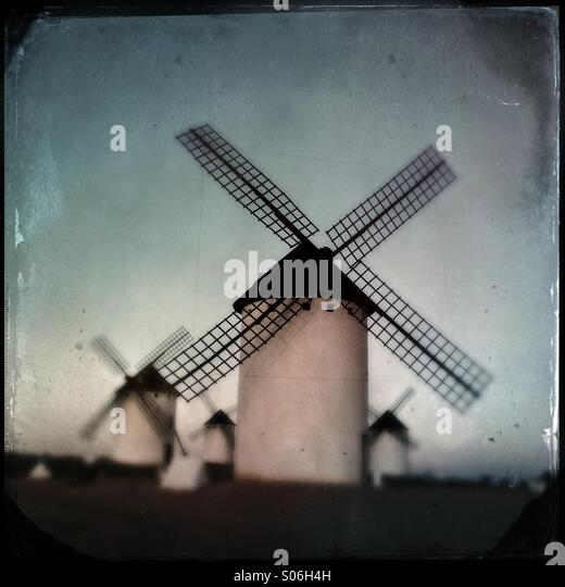 Windmills on La Paz hill - Stock Image