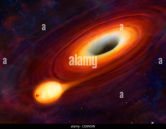 This artwork shows a star being distorted by its close passage to a supermassive black hole at the centre of a galaxy. - Stock Image