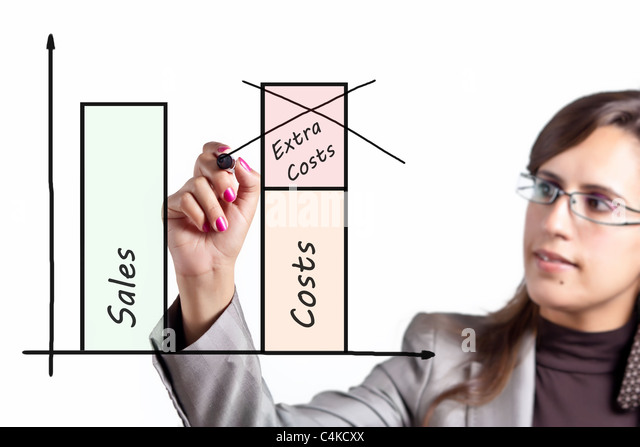 Business Woman decides to cut extra costs to be more competitive - Stock Image