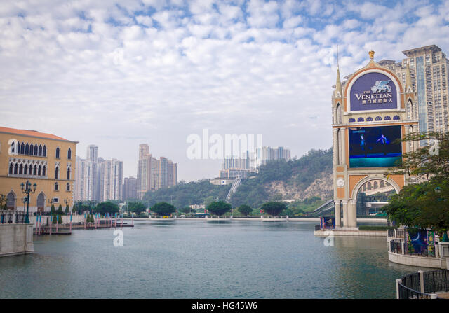 Venetian river side in Macao, China with nice sky and cloud - Stock Image