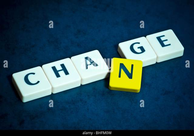 Change Letters on beautiful blue backround - Stock Image