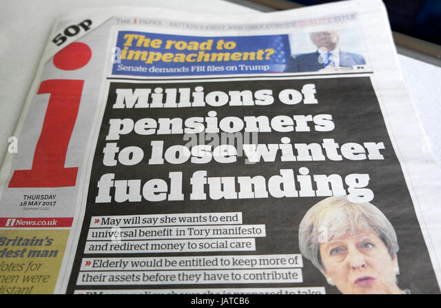 PM Theresa May Tory election policy 'Millions of pensioners to lose winter fuel funding'  I newspaper headline - Stock Image