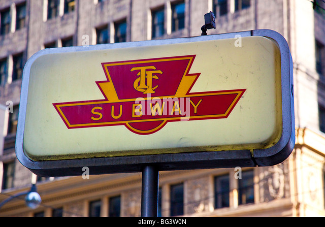 TTC, Subway Sign in Downtown Toronto Canada - Stock Image