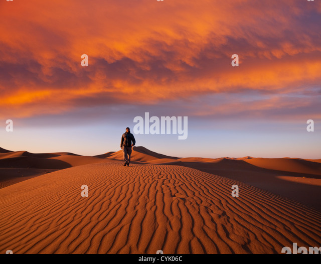 Hike in Namib desert - Stock Image