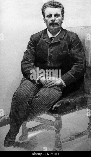 Maupassant, Guy de, 5.8.1850 - 7.7.1893, French writer, full length, drawing after photo by Roger Villet, 19th century, - Stock Image