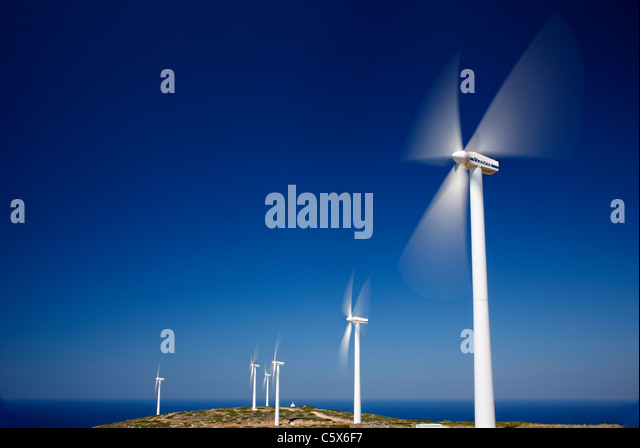 Partial view of the wind farm on Aghios Ioannis (or 'Aforesmenos') cape, above Plaka village, Lasithi, Crete, - Stock Image