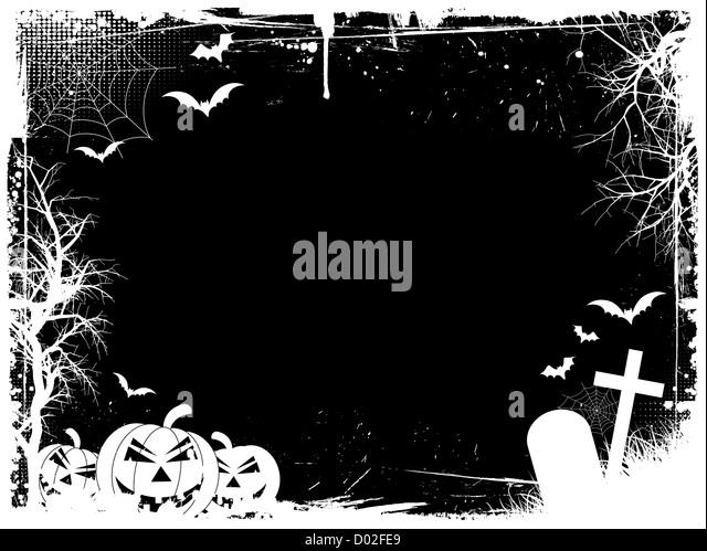 Grunge Halloween border - Stock Image