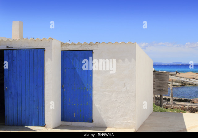 white houses Es Calo port Formentera Balearic Islands Escalo - Stock-Bilder