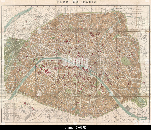 1894 Hachette Pocket Map of Paris, France (shows Eiffel Tower) - Stock Image