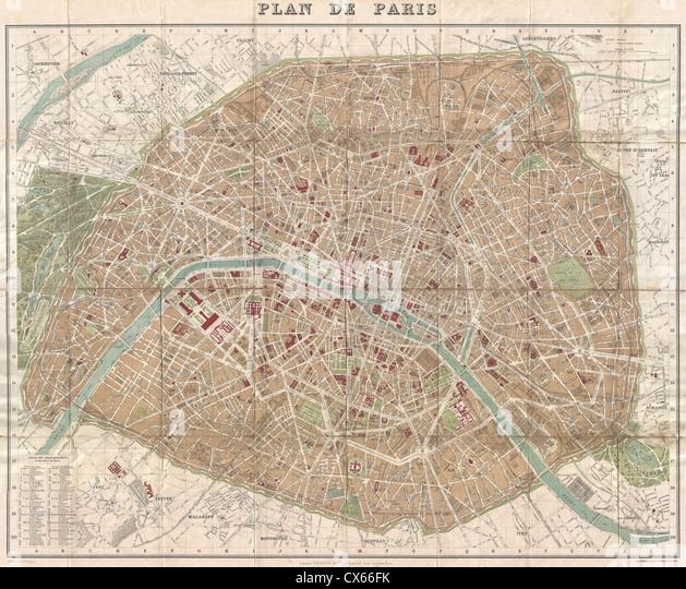 1894 Hachette Pocket Map of Paris, France (shows Eiffel Tower) - Stock Image