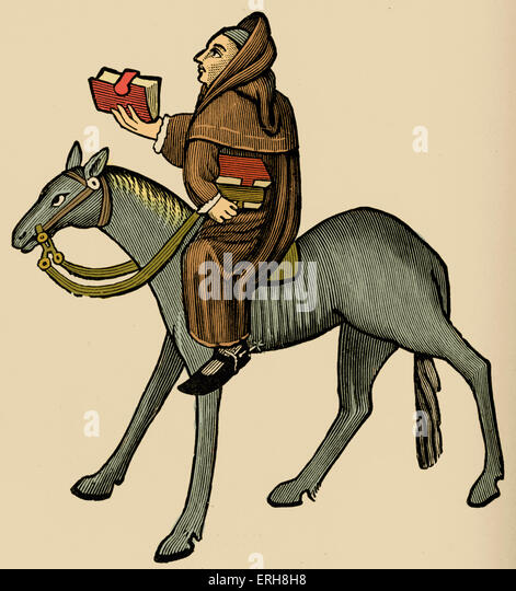 Geoffrey Chaucer ' s Canterbury Tales - The Clerk of Oxford on horseback.  English poet, c. 1343-1400. Ellesmere - Stock Image