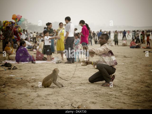 Young man with a dancing monkey. Juhu Beach, Mumbai India - Stock Image