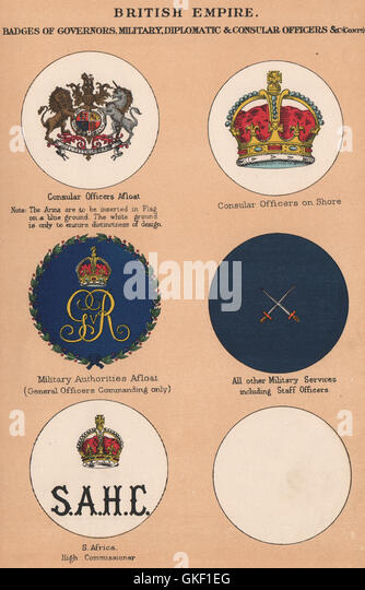 BRITISH EMPIRE BADGES. Consuls. Military Authorities. S. Africa High Comm'r 1916 - Stock Image