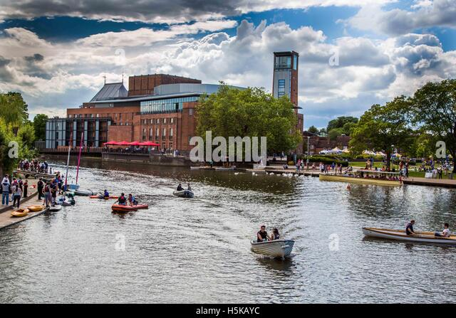 The Royal Shakespeare Theatre viewed from across the River Avon in Stratford, Warwickshire home of The Royal Shakespeare - Stock Image