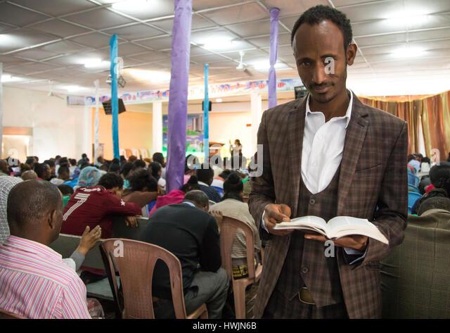 Evangelist pastor Mohamed who converted from islam to christianity inside the gospel church, Addis Ababa region, - Stock-Bilder