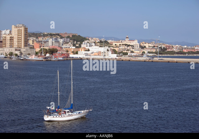 Cagliari skyline and yacht, Sardinia, - Stock Image