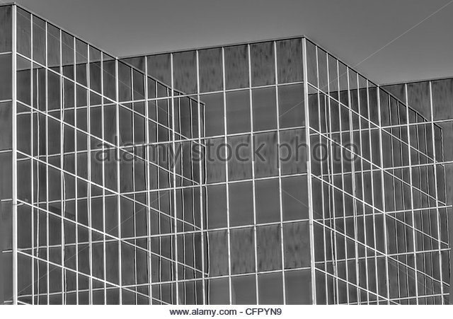 River Plaza Building reflecting itself on a clear, sunny day, Downtown Wichita Ks., Sept. 25 2011 - Stock Image
