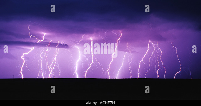 Lightning Panorama - Stock Image