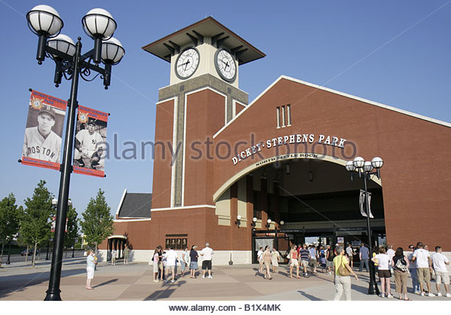 Arkansas North Little Rock Dickey Stephens Park minor league baseball Arkansas Travelers stadium clock tower ballpark - Stock Image