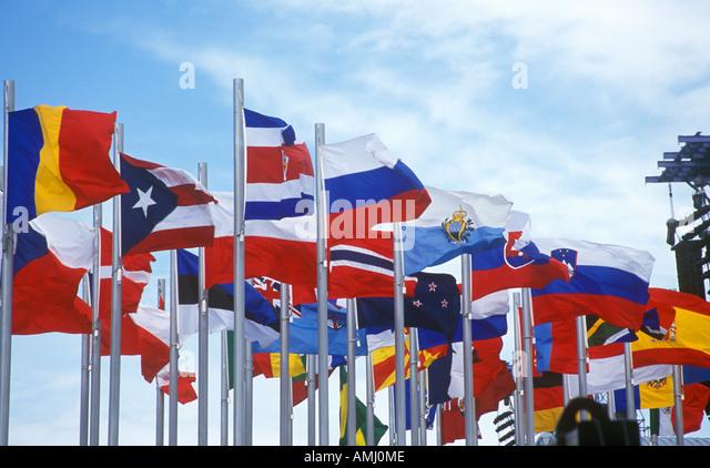 Olympic flags flying during 2002 Winter Olympics Salt Lake City UT - Stock-Bilder
