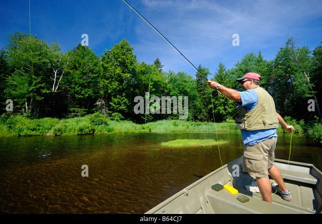 Flyfishing Lake Wantastiquet Vermont - Stock-Bilder