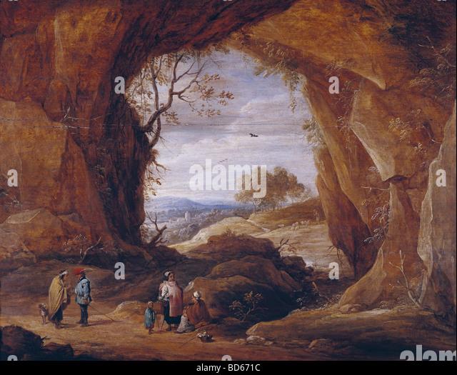 Teniers, David the Younger (1610 - 1690), painting, Rocky Landscape, Museum Lazaro Galdiano, Madrid, Dutch, Flemish, - Stock Image