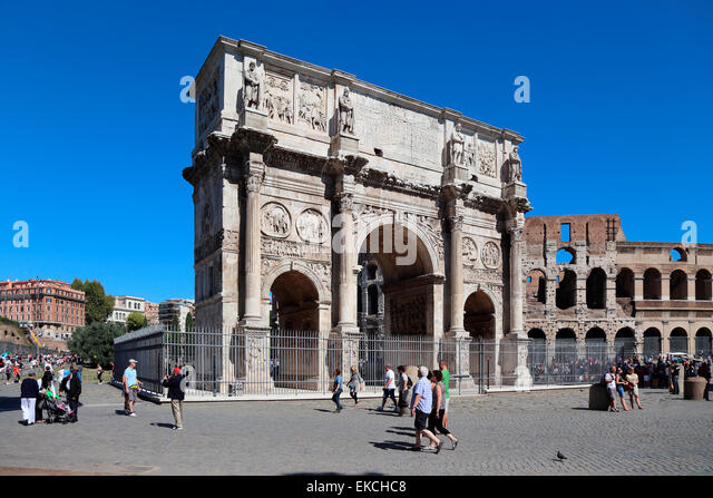 Italy Rome Arco di Costantino Arch of Constantine Colosseeum Colosseo - Stock Image