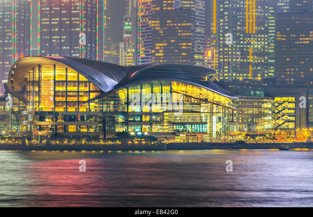 Hong Kong Convention and Exhibition Centre in night - Stock Image